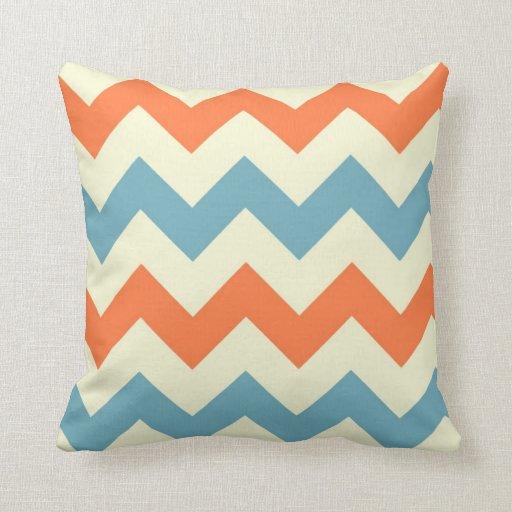 Orange blue chevron zigzag stripes zig zag pattern pillow Zazzle