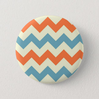 Orange blue chevron zigzag stripes zig zag pattern pinback button