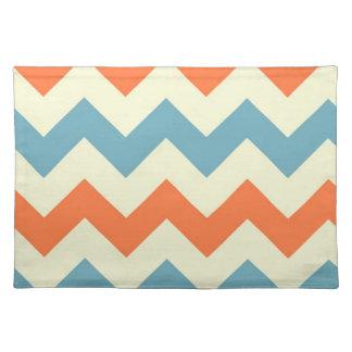 Orange blue chevron zigzag stripes zig zag pattern placemat