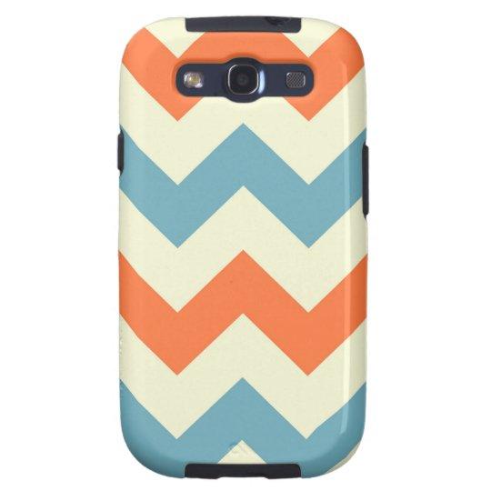Orange blue chevron zigzag stripes zig zag pattern samsung galaxy s3 cover