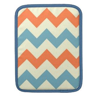 Orange blue chevron zigzag stripes zig zag pattern sleeve for iPads