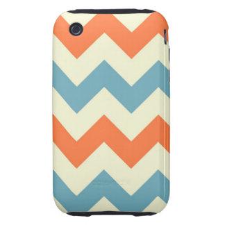Orange blue chevron zigzag stripes zig zag pattern tough iPhone 3 cover