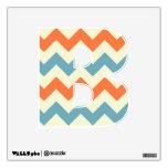 Orange blue chevron zigzag stripes zig zag pattern wall sticker