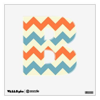 Orange blue chevron zigzag stripes zig zag pattern wall sticker