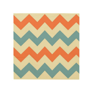 Orange blue chevron zigzag stripes zig zag pattern wood print