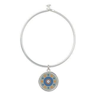 Orange, Blue Circles & Dots Charm Bangle Bracelet