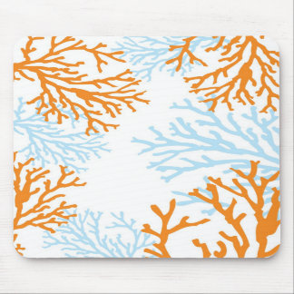 Orange & Blue Coral Mousepad