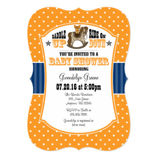 Orange Blue Cowboy Baby Shower Invitation
