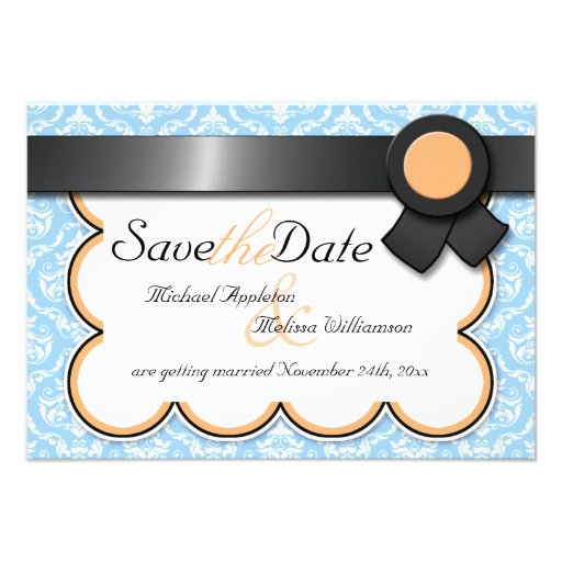 Orange & Blue Damask Save the Date Announcements