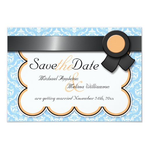 "Orange & Blue Damask Save the Date Announcements 3.5"" X 5"" Invitation Card"