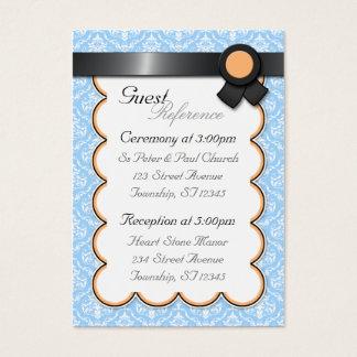 Orange & Blue Damask Wedding Guest Reference Cards