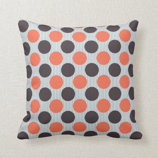 Dark Orange Decorative Pillows : Orange, Blue & Dark Gray Throw Pillows Zazzle