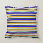 [ Thumbnail: Orange, Blue, Dark Green, Light Cyan, and Grey Throw Pillow ]