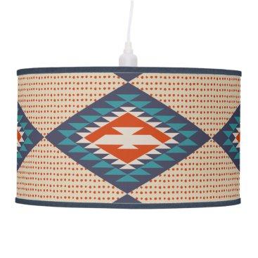 Aztec Themed Orange, Blue, Dots, Tribal Style, Aztec Ceiling Lamp
