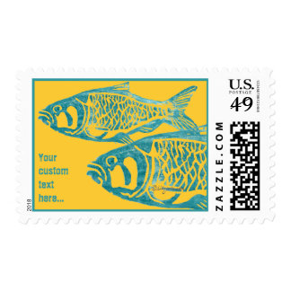 Orange Blue Fishes Lino Block Postage Stamps