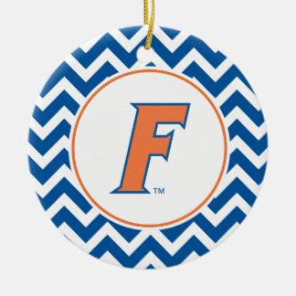 Orange & Blue Florida F Logo Ceramic Ornament