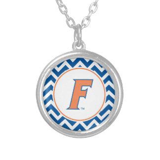 Orange & Blue Florida F Logo Round Pendant Necklace