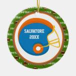 Orange & Blue Football Helmet Christmas Ornament