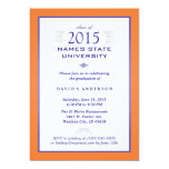 "Orange & Blue Formal Graduation Party Invitation 5"" X 7"" Invitation Card"