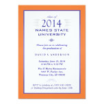 Orange & Blue Formal Graduation Party Invitation
