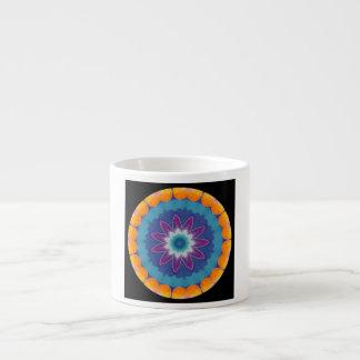 Orange Blue Fractal Mandala Star Eye Espresso Cup