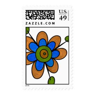 Orange & Blue Fun Flowers Stamps