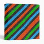 Orange, Blue, Green, Black Glitter Striped 3 Ring Binders