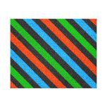 Orange, Blue, Green, Black Glitter Striped Stretched Canvas Prints