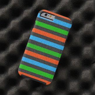 Orange, Blue, Green, Black Glitter Striped Tough iPhone 6 Case