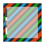 Orange, Blue, Green, Black Glitter Striped Dry-Erase Boards
