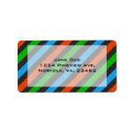 Orange, Blue, Green, Black Glitter Striped Address Label