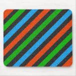 Orange, Blue, Green, Black Glitter Striped Mouse Pad