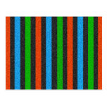 Orange, Blue, Green, Black Glitter Striped Postcard