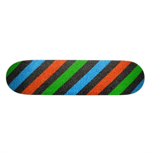 Orange, Blue, Green, Black Glitter Striped Skate Boards