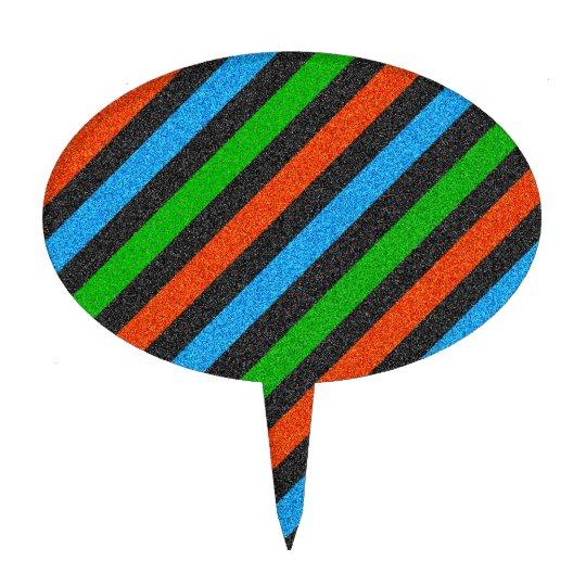Orange, Blue, Green, Black Glitter Striped STaylor Cake Topper