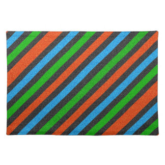 Orange, Blue, Green, Black Glitter Striped STaylor Cloth Placemat