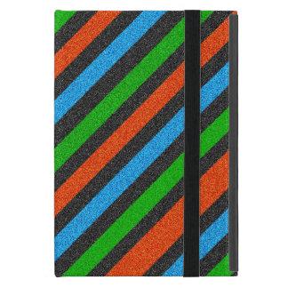 Orange, Blue, Green, Black Glitter Striped STaylor Cover For iPad Mini