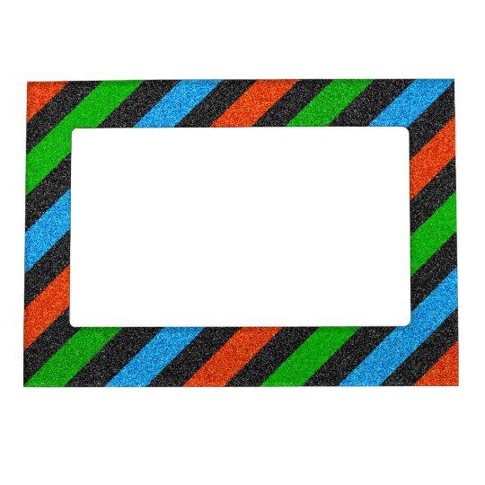 Orange, Blue, Green, Black Glitter Striped STaylor Magnetic Picture Frame