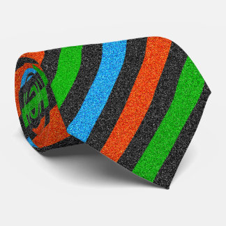 Orange, Blue, Green, Black Glitter Striped STaylor Neck Tie