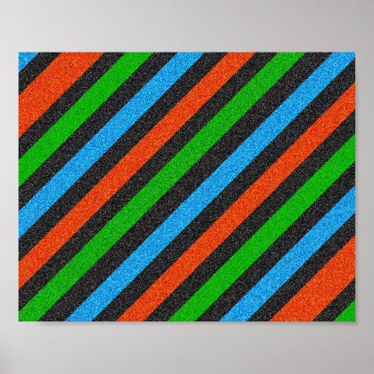 Orange, Blue, Green, Black Glitter Striped STaylor Poster