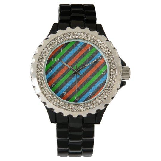 Orange, Blue, Green, Black Glitter Striped STaylor Wrist Watch