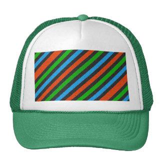Orange, Blue, Green, Black Glitter Striped Trucker Hat