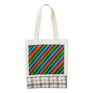 Orange, Blue, Green, Black Glitter Striped Zazzle HEART Tote Bag