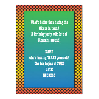 Orange Blue Green  Dots Clown Party Invitation