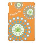 Orange, Blue, Green Modern Pinwheel Personalized iPad Mini Cover