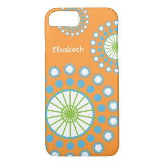Orange, Blue, Green Pinwheel iPhone 7 Case
