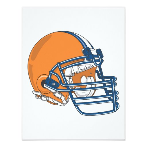 Orange blue helmet 4.25x5.5 paper invitation card