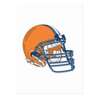 Orange blue helmet postcard