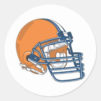 Orange blue helmet classic round sticker
