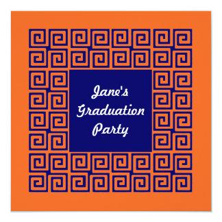 Orange & Blue Key Pattern Party Invitation